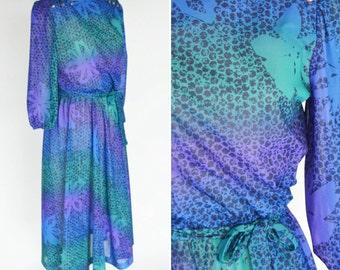Vintage 1980's Purple Secretary Dress - Funky Retro 80's Dress- Semi sheer shirt waist Dress - ladies medium to small