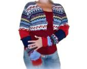 Blue Shrug, Upcycled Shrug, Bolero Shrug, Upcycled Clothing, Long Sleeve Shrug, Patchwork Shrug, Sweater Shrug, Dancers Shrug, Gift for Her