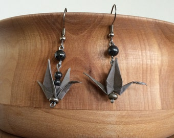Origami Crane and Hemenite Earrings