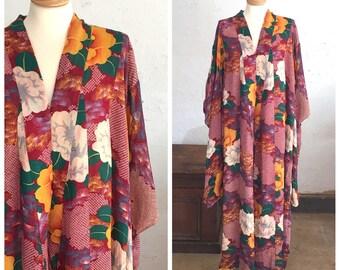 30's/40's FURISODE KIMONO - Robe // Duster // Boudoir // Lounge Wear // Beautiful // Hand sewn