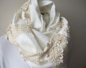 Ivory cotton lace ruffled linen infinity scarf - women's scarves - lace embellished woman fashion scarves-gifts for her-mother stylish scarf