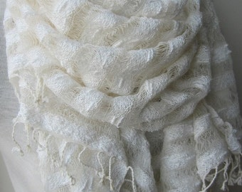Ivory linen scarf-linen lover gift scarf-hand dyed gauze natural linen scarf-women's scarves-woman fashion accessories-Turkish-wedding shawl