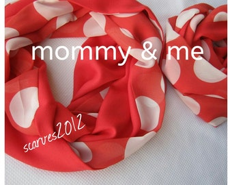 Mommy and me scarves-red white polka dot scarf-sexy-women's scarves-valentines day gift for her baby-mother daughter matching outfits scarf