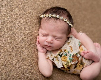 Baby Headband, Hair Accessories- Gold Rhinestone Baby headband Baby Halo Newborn Photography Prop