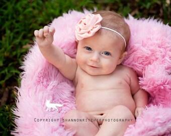Pink headband, Floral headband, Infant Headband- Pink Satin Rosette Baby Headband Photography prop newborn headband toddler headband