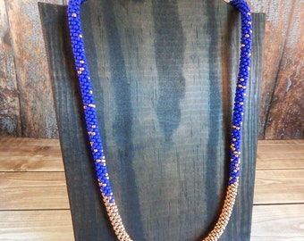 Royal Blue and Rose Gold / Copper Long Beaded Necklace