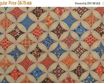 25% OFF Vintage 70s Fabric, Cotton Blend Fabric, Geometric Fabric, Calico Fabric, Circle Fabric, Patchwork Fabric by the yard - 1 Yard - CFL