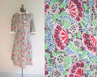 1940's Fan Novelty Print Cotton Dress Size Medium