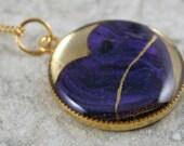 Small broken dark purple polymer clay heart pendant with gold kintsugi (kintsukuroi) style repair in gold bezel with gold chain - OOAK