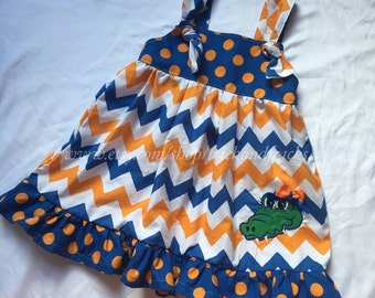 Orange and Blue Chevron Knot Dress with Alligator Applique