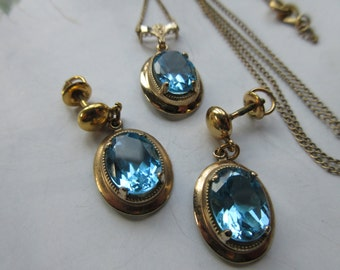 Amco Blue Crystal Necklace and Earrings, Vintage Pierced Earrings, Matching Necklace Sets, Blue Necklace, Vintage Gold Fill, Estate Jewelry