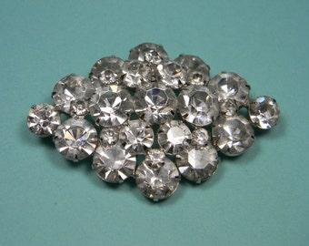 Classic Vintage Elegant Clear Rhinestone Brooch, Bridal, Wedding,