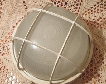 Vintage Cage Light Fixture, Industrial Salvage Light