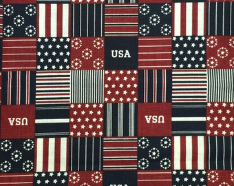 Cotton Fabric / Patriotic Fabric / USA Fabric / Red, White and Blue Fabric / United States of America Fabric / 2.5 Yards
