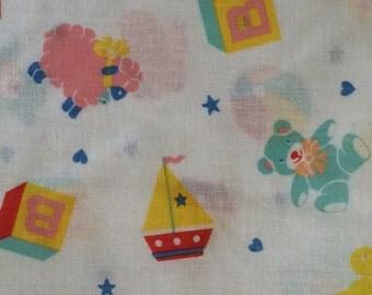 Vintage Nursery Polyester Fabric 1 Yard