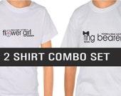 Ring Bearer Shirt AND Flower Girl Shirt, Black Bow Tie Shirt, Pink Flower Girl Wedding Shirt : WEDDING SALE - 2 for 20.00