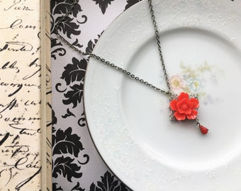 Vintage Inspired Flower Necklace, Red Sakura Flower Necklace with Little Red Jewel, Silver Filigree and Necklace