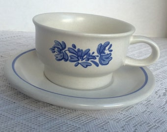 Pfaltzgraff Yorktowne Blue and White Teacup and Saucer Vintage 1980s Pottery