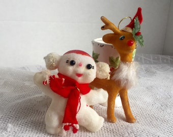 Vintage Reindeer and Snowman Felted Christmas Ornaments