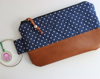 Small Quilted Wristlet Navy Blue and White Polka Dot Tan Faux Leather