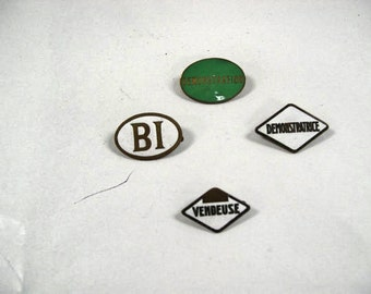 Lot of 4 Vintage French Enamel Department Store Employee Brooches Badges (w230)