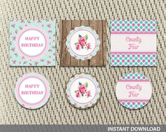 Favor Tags - Stickers - County Fair Hayride Farm Fall - Pumpkin Shabby Chic - Floral - Birthday - Instant Download - DIY Digital Decorations