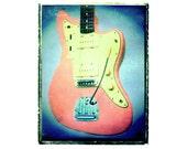 Pink fender jazzmaster jaguar art, music wall decor, musicians gift, gift for guy, gift for boyfriend, hipster, dude, rock n roll art