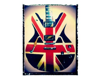 Union Jack guitar art print / music gift / rock n roll art / music room decor / guitar gift / man cave art