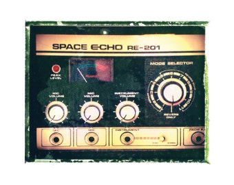 Space Echo guitar art print / music gift / rock n roll art / music room decor / guitar gift / man cave art