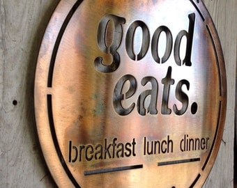 Good Eats Breakfast Lunch Dinner Sign Established Date Customizable