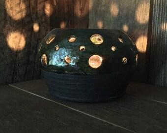 Small Candle Luminary - Green Pottery - tea light