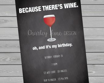 Funny Wine Birthday Party Invitation
