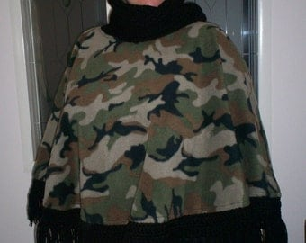 Too Cool Camo Fleece and Crocheted Poncho with Cowl/Hood