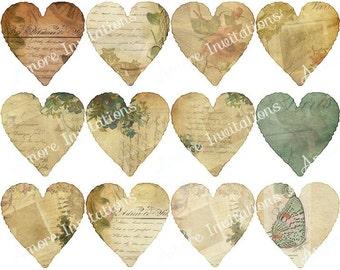 Digital Clip Art - Vintage Valentine Hearts Collage Sheet Clip Art - Instant Download - Downloadable - CU / Commercial / Personal Use ok