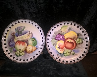 Fruit Plates, Hand Painted, Scalloped & Pierced Edge, Signed  Set of 2