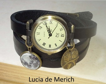 Moon and Owl  wrist watch - Owl lover gift - Moon wristwatch
