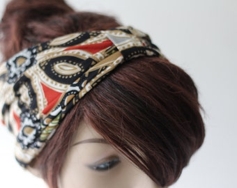 Knotted Turban, Boho Knot Headband, Cinched Tribal Headband, Boho Head Wrap, Turband, Stretch Fabric, Women's Hair Accessories