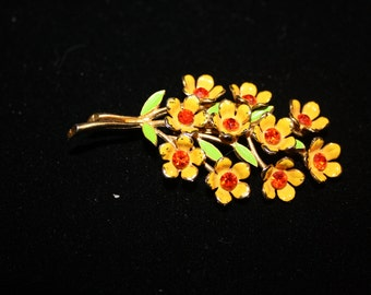 Vintage Floral Bouquet Pin, Orange and Yellow