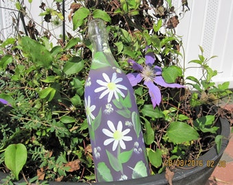 Purple bottle with white Daisies green leaves hand painted lights inside
