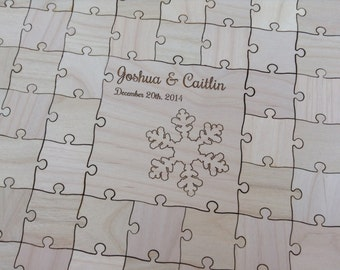 100-150 pcs. Custom Wedding Puzzle - Winter Wedding Guest Book Puzzle -Guest Book Alternative - Mixed grain pieces