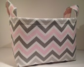 Fabric Storage Basket Diaper Caddy Organizer Storage Bin Container- Pink and Gray Chevron Zig Zag Stripe with Solid Light Pink Interior