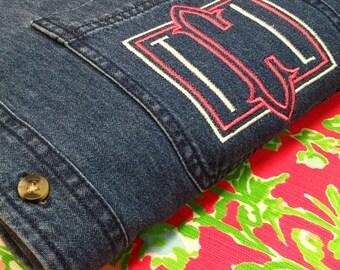 Monogram Denim Button up Shirt - Monogrammed Oversize Shirt - Monogram Chambrary Shirt - Monogrammed Denim Shirt - Monogram Boyfriend shirt