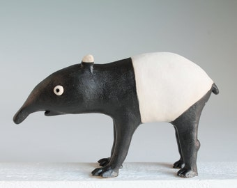 Tapir, original hand built ceramic tapir sculpture, Malayan tapir ceramic figiure, stoneware