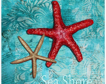 Starfish Wall Art 'Sea Shore' by Megan Duncanson - Coastal Decor Beach Painting on Metal or Acrylic