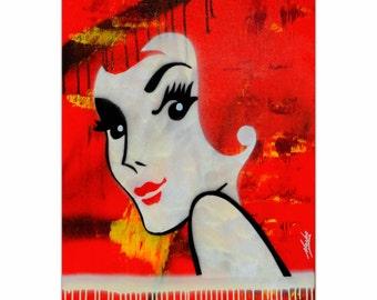 Mendo Vasilevski 'Flaming Redhead' - Mid Century Style Pop Art, Australian Culture Artwork, Vintage Wall Decor