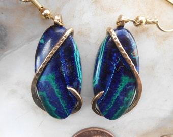 ELEGANT Azurite Malachite Silver Wrapped Earrings