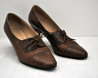 Vintage Vero Cuoio Leather Croc Lace Up Oxford Heels 7 1/2 B ~7.5