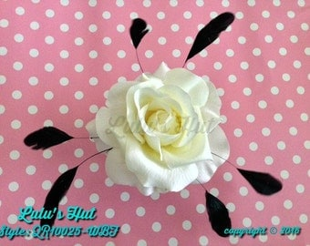 White Rose Hair Clip With Black Feathers//Wedding Hair Piece//Vintage Style Hair Clips// Flower Hair Accessories