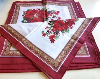 Set of 5 Vintage Christmas Napkins