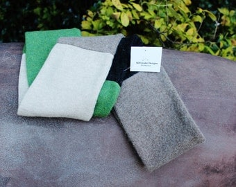 Cashmere Infinity scarf Green/Black/Gray